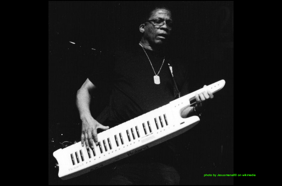 Herbie hancock plays electric jazz funk on a synthesizer
